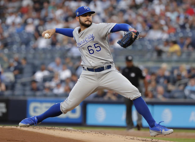 Kansas City Royals' Jakob Junis delivers a pitch during the first inning of the team's baseball game against the New York Yankees on Thursday, July 26, 2018, in New York. (AP Photo/Frank Franklin II)