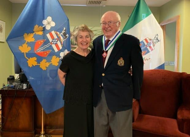 Former Yukon commissioner Jack Cable with his wife Fay last year, when he was awarded the Order of Yukon. Cable died last week at age 86. (Office of the Commissioner of Yukon - image credit)