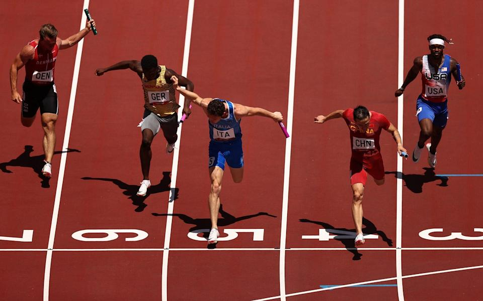 The US relay team finished behind China, Canada, Italy, Germany and Ghana - GETTY IMAGES