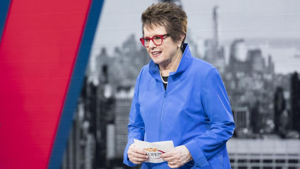 Billie Jean King speaks during the Opening Night Ceremony of 2017 US Open Championships at Billie Jean King Tennis center