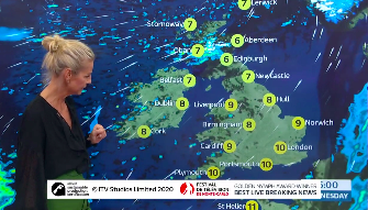 Ulrika Jonsson presented the weather on 'Good Morning Britain' (Credit: ITV)