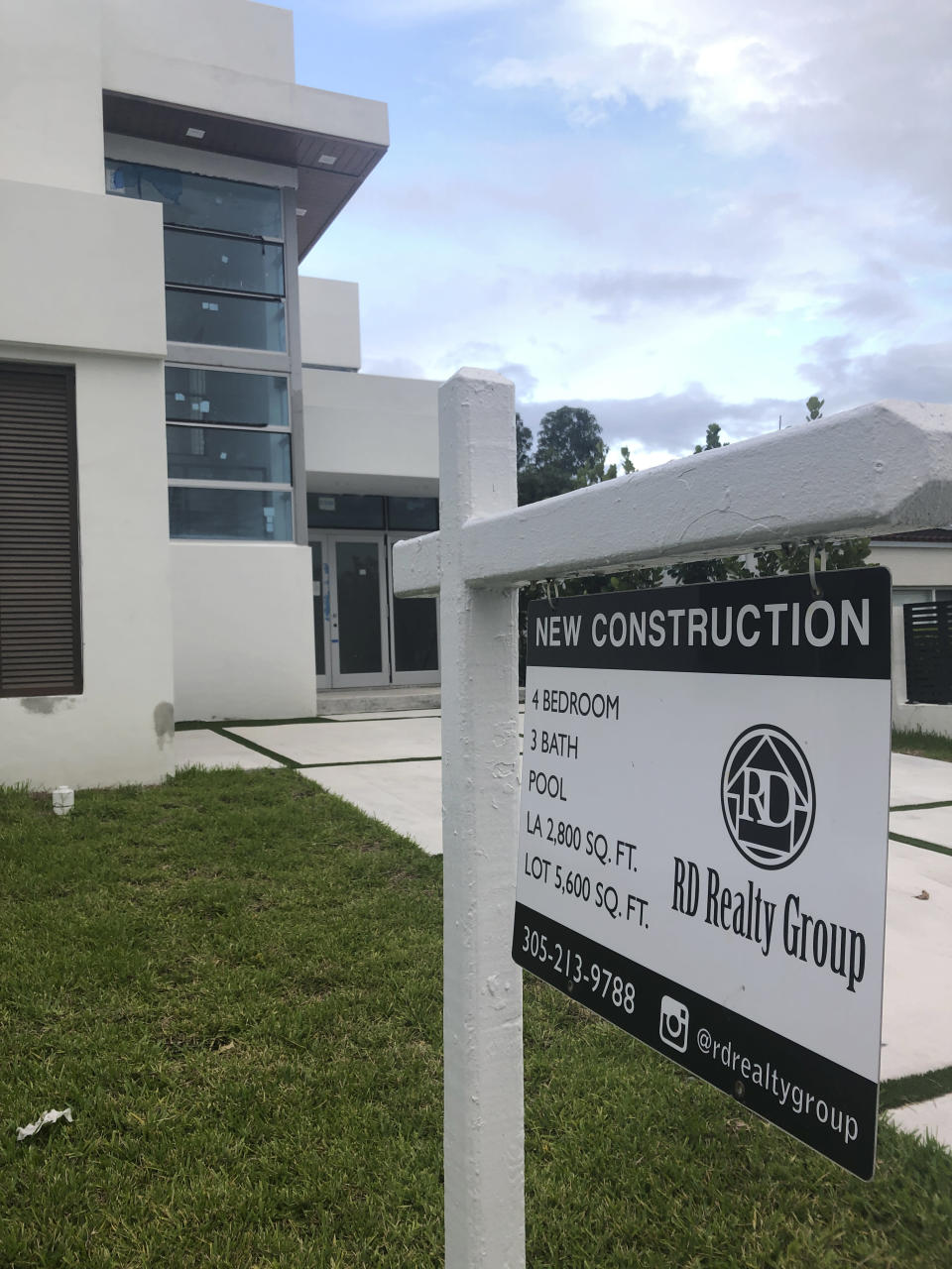 A newly constructed home is shown for sale, Thursday, Oct. 15, 2020, in Surfside, Fla. U.S. home prices posted a robust gain in August — another sign that the American housing market remains strong despite economic fallout from the coronavirus pandemic. (AP Photo/Wilfredo Lee)