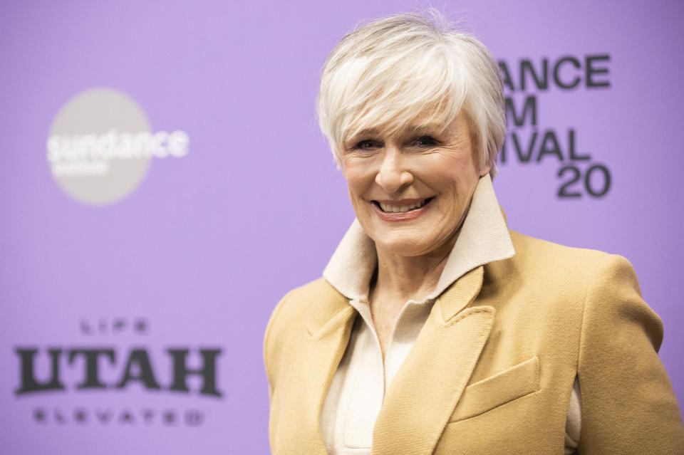 """Actress Glenn Close attends the premiere of """"Four Good Days"""" at the Eccles Theatre during the 2020 Sundance Film Festival on Saturday, Jan. 25, 2020, in Park City, Utah. (Photo by Arthur Mola/Invision/AP)"""