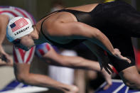 Katie Ledecky competes in the women's 200-meter final at the TYR Pro Swim Series swim meet Friday, April 9, 2021, in Mission Viejo, Calif. Ledecky won the final. (AP Photo/Ashley Landis)