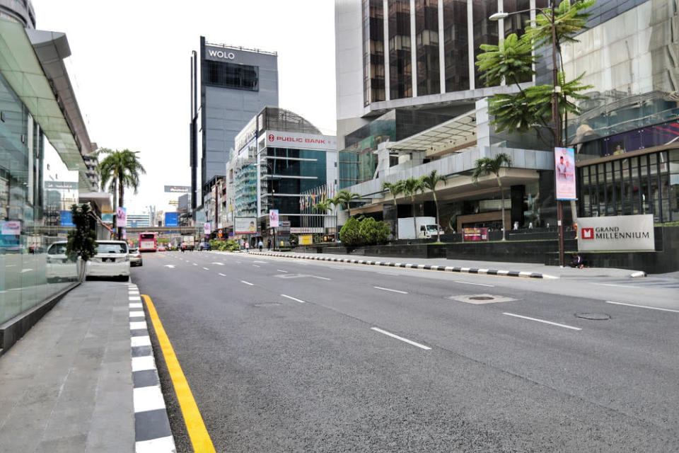 A near deserted Kuala Lumpur is seen during amid MCO 3.0 on May 11, 2021. — Picture by Ahmad Zamzahuri
