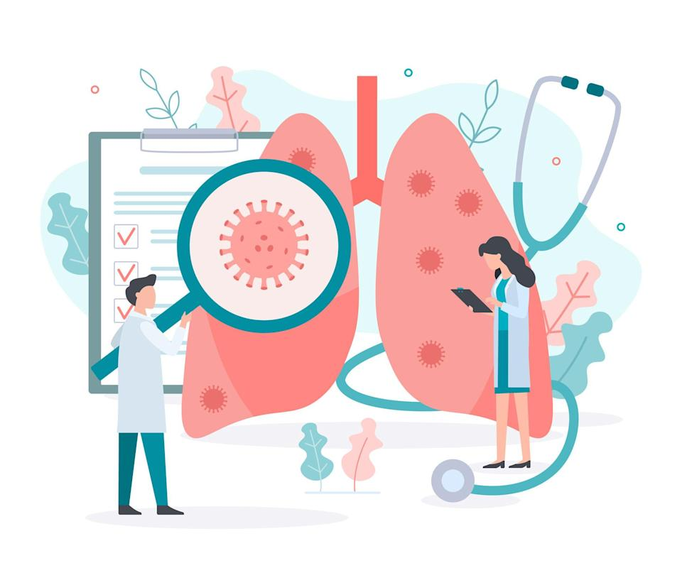 Illustration of doctor checking the lungs for the presence of coronavirus