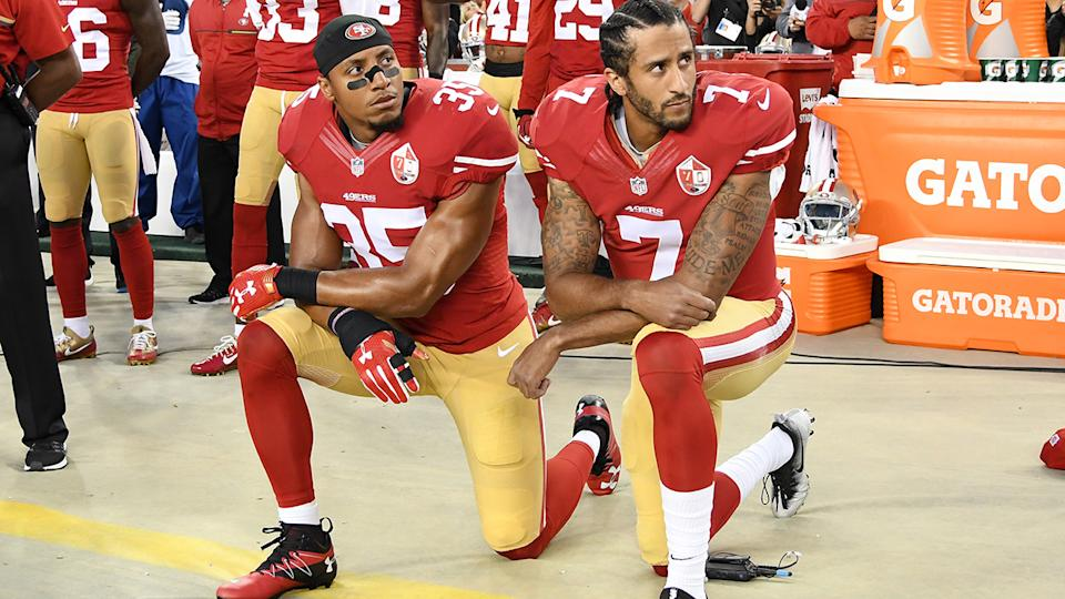 Eric Reid and Colin Kaepernick, pictured here kneeling in protest during the national anthem in 2016.
