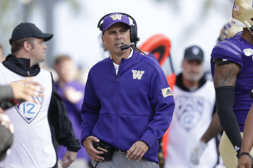 Washington head coach Chris Petersen looks on from the sidelines during an NCAA college football game against Southern Cal Saturday, Sept. 28, 2019, in Seattle. Washington won 28-14. (AP Photo/Elaine Thompson)