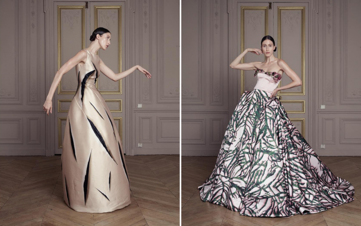 <i>Anna Cleveland models Giles Deacon's first couture collection [Photo: Instagram/gilesdeacon_]</i>