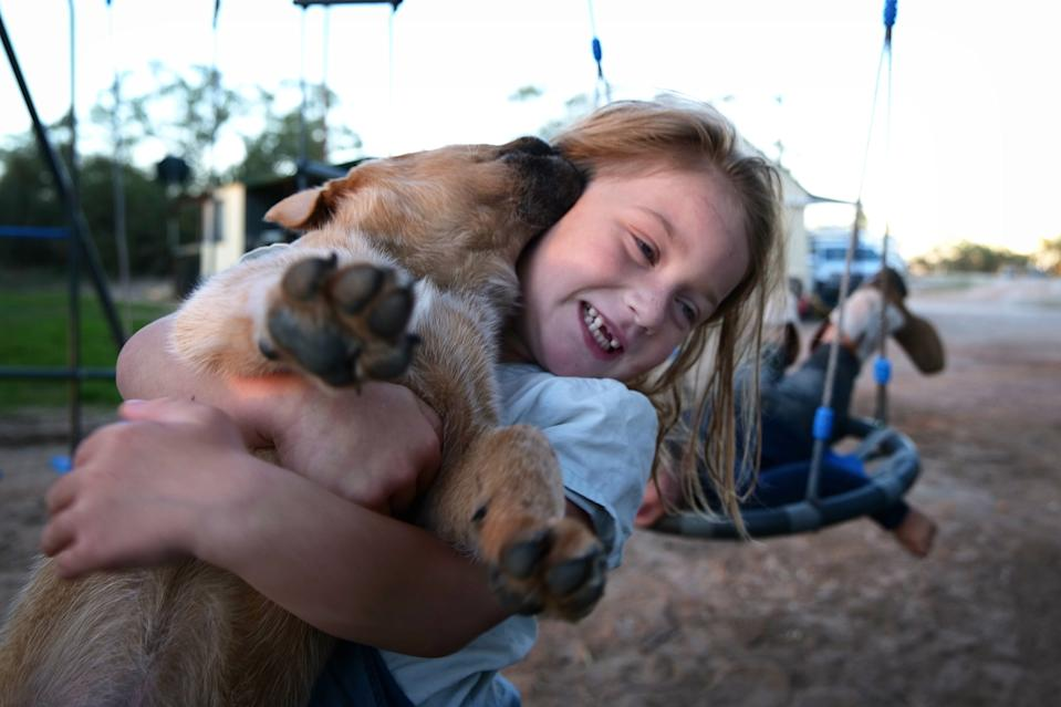 A young girl is seen cuddling her puppy Bruiser on April 27, 2020 in Louth, Australia. (Photo by Mark Evans/Getty Images)