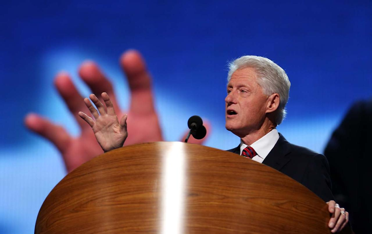 CHARLOTTE, NC - SEPTEMBER 05:  Former U.S. President Bill Clinton speaks on stage during day two of the Democratic National Convention at Time Warner Cable Arena on September 5, 2012 in Charlotte, North Carolina. The DNC that will run through September 7, will nominate U.S. President Barack Obama as the Democratic presidential candidate.  (Photo by Chip Somodevilla/Getty Images)