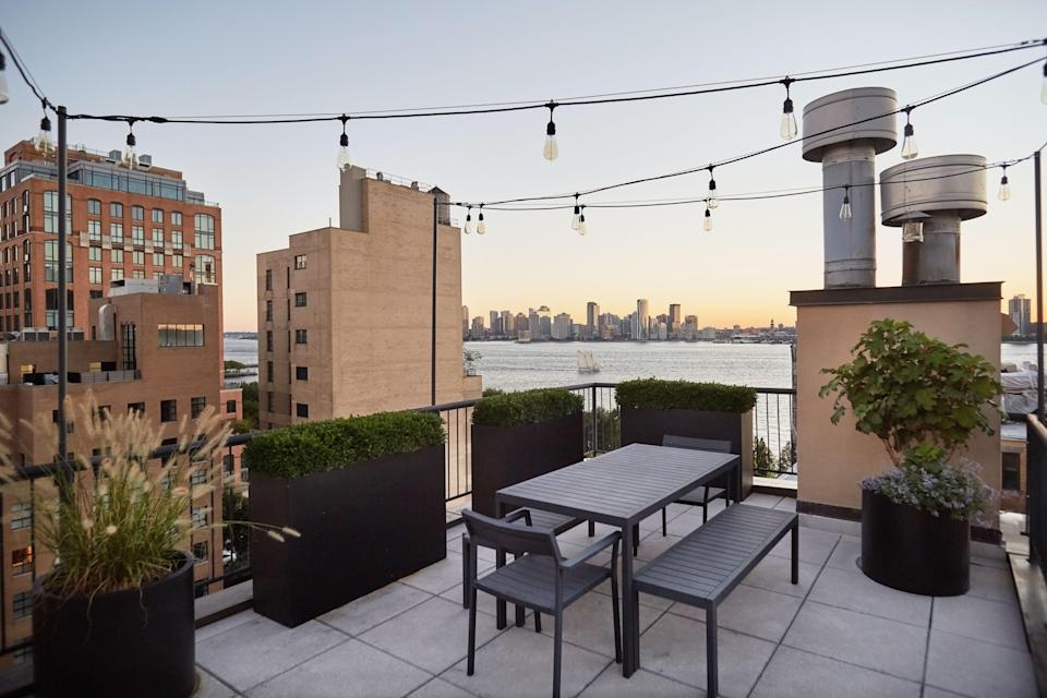 The terrace, a selling point for Blinken, provides views of the Hudson River.