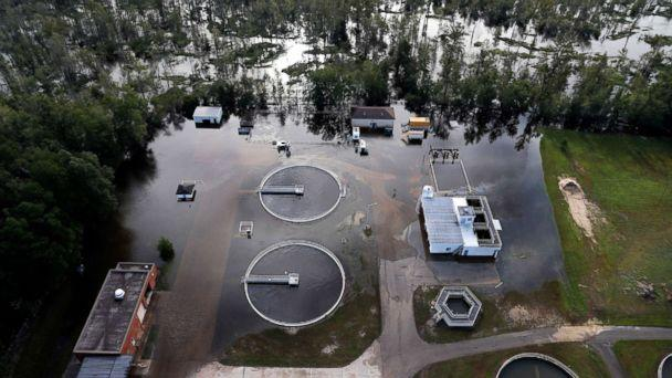 PHOTO: A wastewater treatment plant is inundated from floodwaters in the aftermath of Hurricane Florence in Marion, S.C., Sept. 17, 2018. (Gerald Herbert/AP)