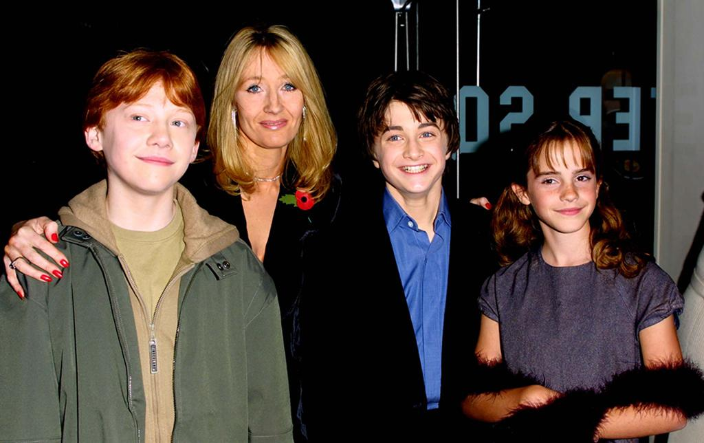 <p>Rupert Grint, author J.K. Rowling, Daniel Radcliffe, and Emma Watson (Photo: Gareth Davies/Getty Images) </p>