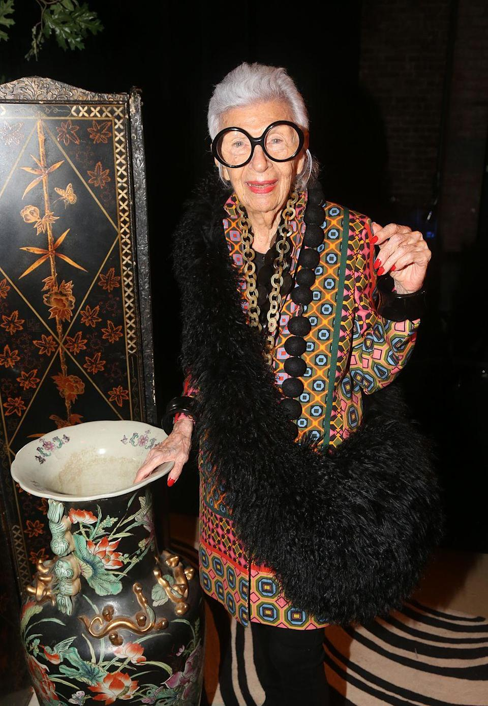 <p>She is the master of maximalism, and this patterned jacket paired with black fur and oversized necklaces make a bold splash. <br></p>
