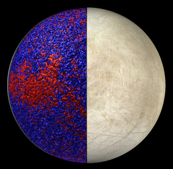 This rendering of Jupiter's icy moon Europa shows so-called isosurfaces of warmer (red) and cooler (blue) temperatures in a simulation of Europa's global ocean dynamics. More heat is delivered to the ice shell near the equator where convection