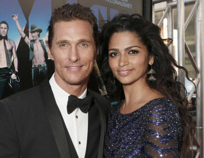 "FILE - This June 24, 2012 file photo shows actor Matthew McConaughey and his wife Camila Alves McConaughey attending the premiere of ""Magic Mike"" at Regal Cinemas L.A. Live in Los Angeles. McConaughey and Alves both tweeted, Wednesday, July 4, 2012, that they were expecting their third child. Forty-two-year-old McConaughey wed 29-year-old Alves last month in a ceremony at their Austin, Texas home. The couple have a son named Levi, who turns 4-years-old this week and a 2-year-old daughter named Vida. (Photo by Todd Williamson/Invision/AP, file)"