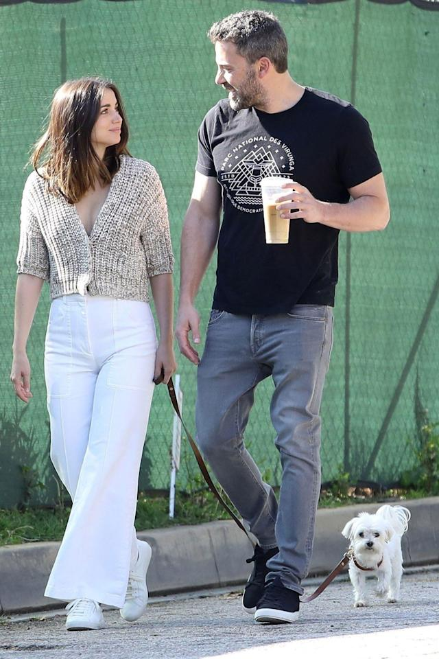 <p>Ben Affleck and Ana de Armas enjoy a walk with her dog in Los Angeles on Saturday.</p>