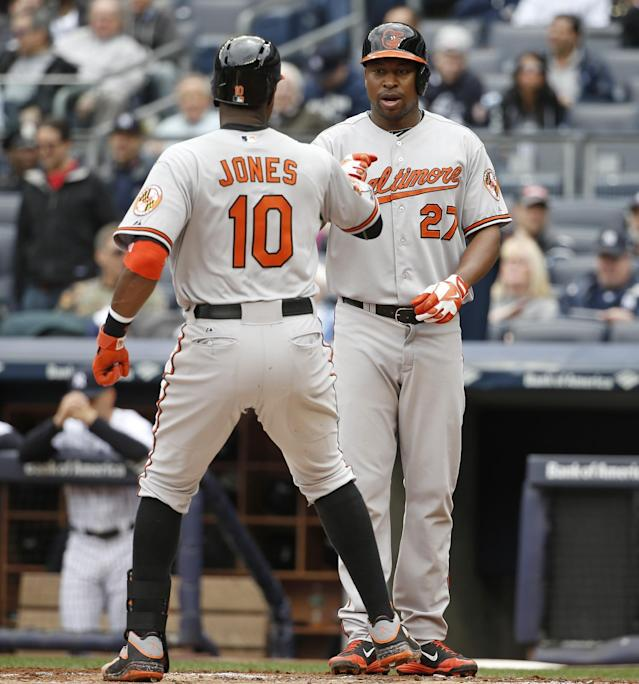 Baltimore Orioles' Delmon Young greets teammate Adam Jones (10) after scoring on Jones's first-inning, two-run home run off New York Yankees starting pitcher Ivan Nova in a baseball game at Yankee Stadium in New York, Tuesday, April 8, 2014. (AP Photo/Kathy Willens)