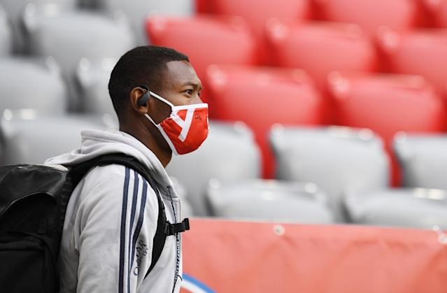 MUNICH, GERMANY - MAY 23: David Alaba of FC Bayern Muenchen arrives at the stadium wearing a protective face mask prior to during the Bundesliga match between FC Bayern Muenchen and Eintracht Frankfurt at Allianz Arena on May 23, 2020 in Munich, Germany. (Photo by Andreas Gebert/Pool via Getty Images)