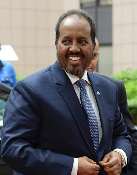 Somalia's President Hassan Sheikh Mohamud says security is improving in the chronically unstable African nation (AFP Photo/Thierry Charlier)
