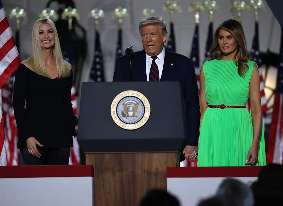 President Donald Trump and first lady Melania Trump is introduced by his daughter and White House senior adviser, Ivanka Trump, as he prepares to deliver his acceptance speech for the Republican presidential nomination on the South Lawn of the White House August 27, 2020 in Washington, DC. Trump gave the speech in front of 1500 invited guests.