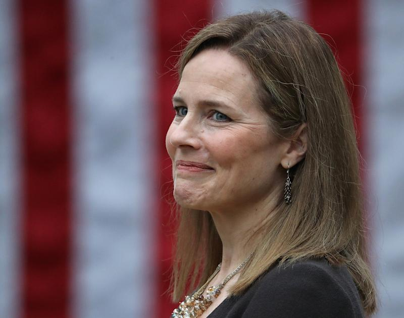 Donald Trump's Supreme Court nominee Amy Coney Barrett has been accused of 'unconscionable cruelty' for her part in overturning an award of millions of dollars in prison rape case (Photo by Chip Somodevilla/Getty Images)