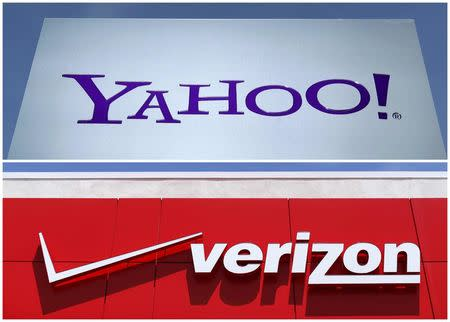 A combination photo of Yahoo logo in Rolle Switzerland and a Verizon sign in San Diego California