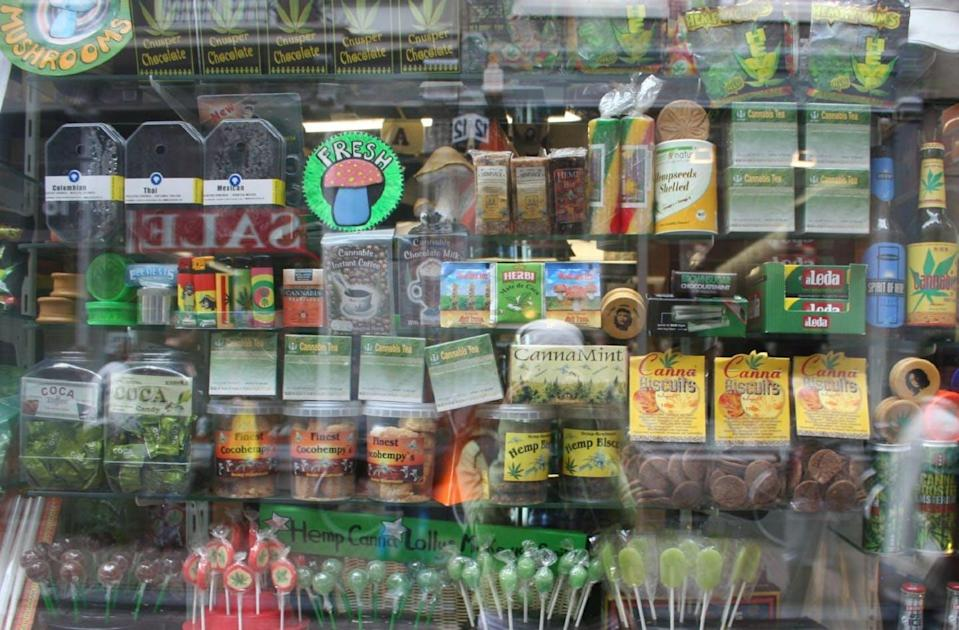 "<span class=""caption"">An Amsterdam storefront shows the type of creative and colourful cannabis packaging seen in other jurisdictions. </span> <span class=""attribution""><span class=""source"">Creative Commons</span>, <a class=""link rapid-noclick-resp"" href=""http://creativecommons.org/licenses/by-sa/4.0/"" rel=""nofollow noopener"" target=""_blank"" data-ylk=""slk:CC BY-SA"">CC BY-SA</a></span>"