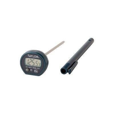"""<p><strong>Taylor</strong></p><p>target.com</p><p><strong>$10.99</strong></p><p><a href=""""https://www.target.com/p/taylor-digital-instant-read-pocket-thermometer/-/A-533893"""" rel=""""nofollow noopener"""" target=""""_blank"""" data-ylk=""""slk:BUY IT NOW"""" class=""""link rapid-noclick-resp"""">BUY IT NOW</a></p><p>Press the """"on"""" button (the little one on the lower left). Jab the meat thermometer needle into whatever you are temping. Wait for the reading. That's it. No bull. It's cheap, simple and straightforward and a good entry level option. </p>"""