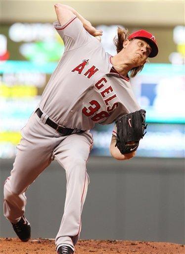 Los Angeles Angels starting pitcher Jered Weaver (36) throws against the Minnesota Twins during the first inning, Monday, May 7, 2012, in Minneapolis. This is Weaver's first start after no-hitting the Twins and becomes the first pitcher since Derek Lowe in 2002 to face the same team in his next start. (AP Photo/Genevieve Ross)