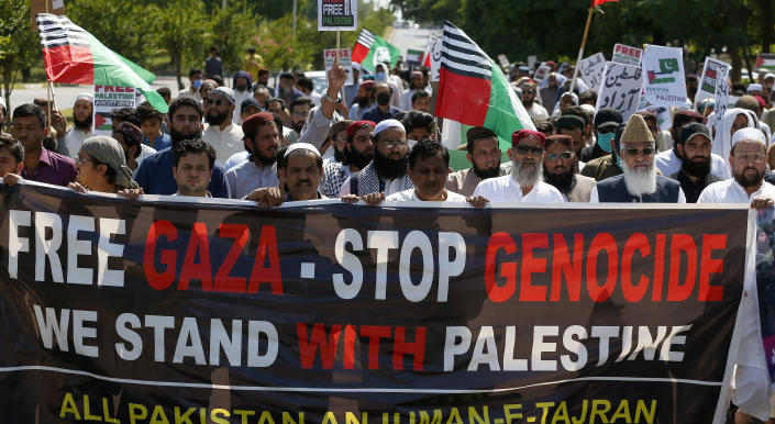 Supporters of a Pakistani religious party take part in a rally in support of Palestinians in conflict with Israelis Friday, May 21, 2021, in Islamabad, Pakistan. (AP Photo/Anjum Naveed)