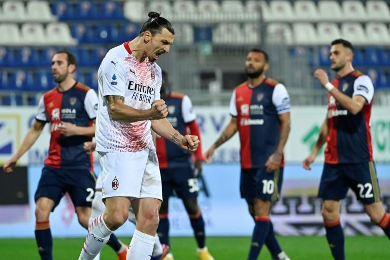 Zlatan Ibrahimovic scored both goals in the 2-0 win Monday at Cagliari as he made his first league start since November