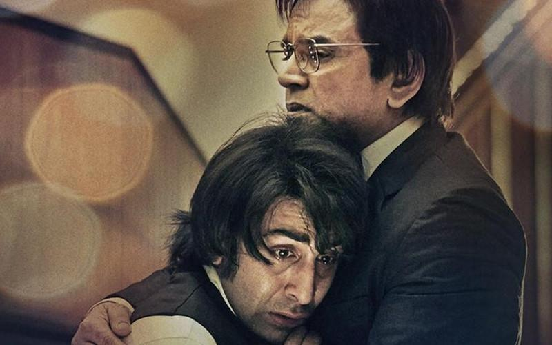 sanju poster featuring ranbir kapoor and paresh rawal
