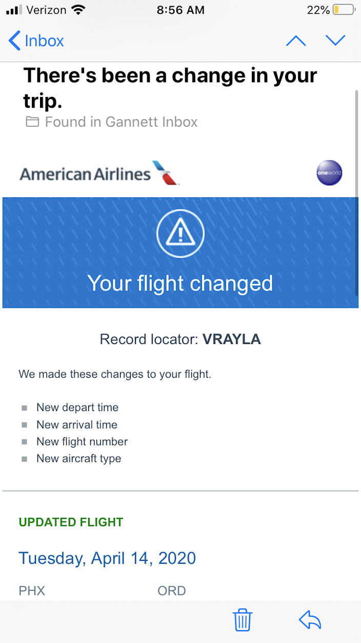 American Airlines and other carriers notify passengers when their flights are canceled or changed if an email was provided at booking. Travelers need to pay attention for these emails during the coronavirus pandemic if hope to get their money back instead of a travel credit or voucher.