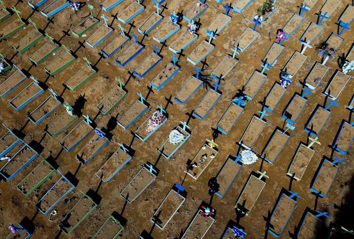 Aerial view of graves of COVID-19 victims at the Nossa Senhora Aparecida cemetery in Manaus, Amazon state, Brazil, on April 15, 2021. / Credit: MICHAEL DANTAS/AFP via Getty Images