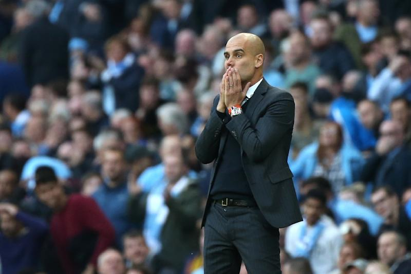 Manchester City's Spanish manager Pep Guardiola looks on during his English Premier League football match against Everton in Manchester, north west England, on October 15, 2016