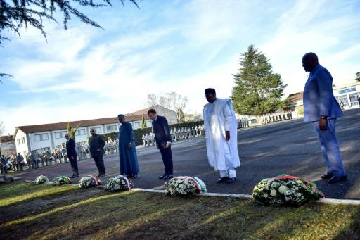Show of solidarity: Sahel leaders gathered with French President Emmanuel Macron in January to lay wreaths in honour of seven French soldiers who died in a helicopter crash in Mali