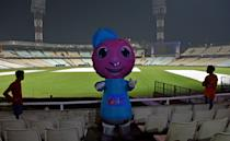 KOLKATA, INDIA - NOVEMBER 19: Pinku, the mascot of the India's first day-night test match with pink ball, which will start from 22nd November between India vs Bangladesh, at Eden Garden on November 19,2019 in Kolkata, India. (Photo by Samir Jana/Hindustan Times via Getty Images)