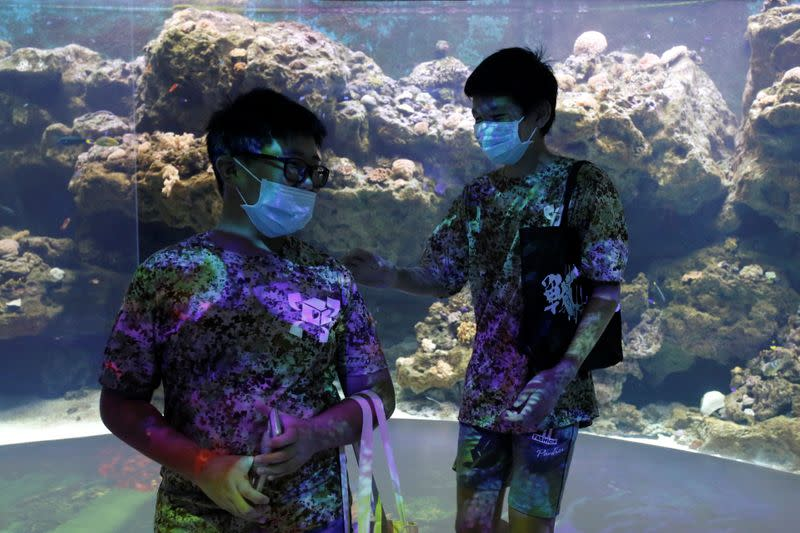 Visitors tour the Xpark Aquarium on its opening day while wearing protective masks to prevent the spread of the coronavirus disease (COVID-19) in Taoyuan
