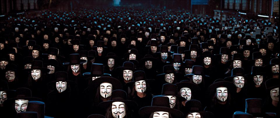 An army of V's descend on downtown London in the climax of 'V for Vendetta' (Photo; Warner Brothers/courtesy Everett Collection)