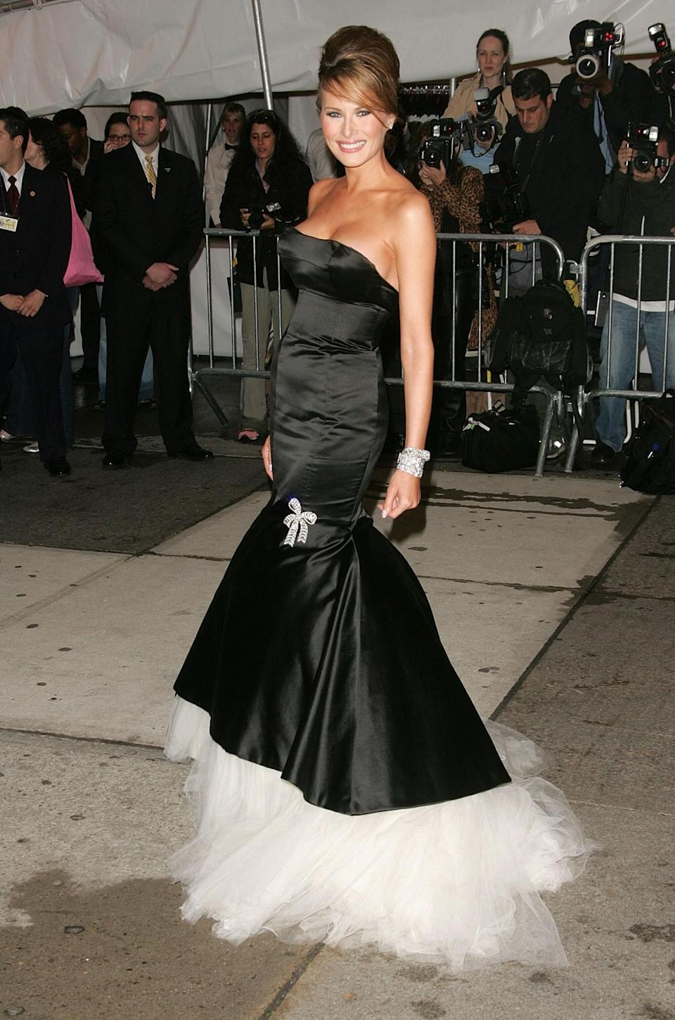 <p>For the 2005 Met Gala celebrating Chanel, Melania donned a stunning black dress with a tulle underlay. <i>[Photo: Getty]</i> </p>