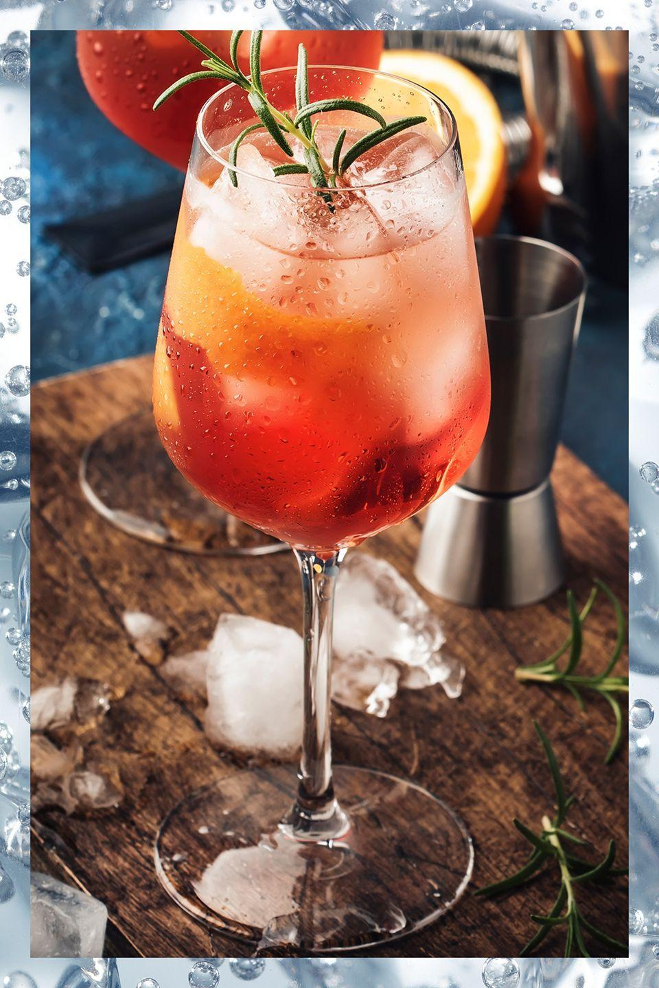 """<p>Low on alcohol and high on refreshment, the spritz has been a crowd-pleasing favorite aperitivo for <a href=""""https://www.townandcountrymag.com/leisure/drinks/a28748705/aperol-spritz-drink-recipe-history"""" rel=""""nofollow noopener"""" target=""""_blank"""" data-ylk=""""slk:more than two centuries."""" class=""""link rapid-noclick-resp"""">more than two centuries.</a> Though it can be made with any amaro or liqueur as a base, by far the best known version is the classic <a href=""""https://www.townandcountrymag.com/leisure/drinks/g27186067/best-aperol-cocktails/"""" rel=""""nofollow noopener"""" target=""""_blank"""" data-ylk=""""slk:Aperol Spritz"""" class=""""link rapid-noclick-resp"""">Aperol Spritz</a>:</p><p>-Equal parts Aperol<br>-Equal parts Cinzano Prosecco<br>-Splash of Soda</p><p><em>Mix all ingredients in a wine glass with ice and gently stir. Garnish with an orange slice.</em></p>"""