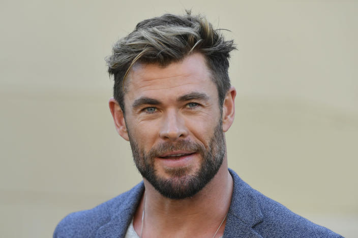 """Actor Chris Hemsworth attends at a press conference to announce the new """"Mad Max"""" film at Fox Studios Australia in Sydney, Monday, April 19, 2021. (Mick Tsikas/AAP Image via AP)"""