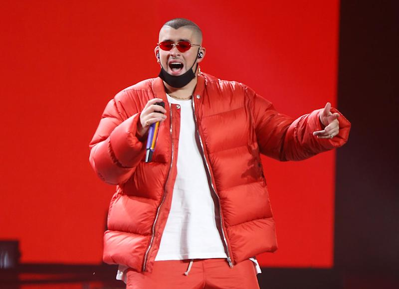 LAS VEGAS, NEVADA - NOVEMBER 14: Bad Bunny performs onstage during the 20th Annual Latin GRAMMY Awards held at MGM Grand Garden Arena on November 14, 2019 in Las Vegas, Nevada. (Photo by Michael Tran/FilmMagic)