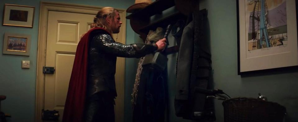 Thor hangs his hammer up with the jackets to be polite