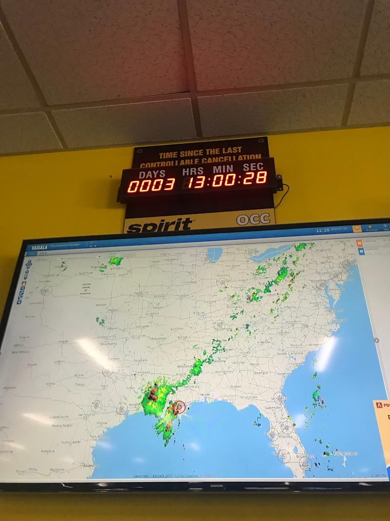 Spirit Airlines installed a cancellation clock in its operations control center near Fort Lauderdale to inspire employeees to keep the operation on track.