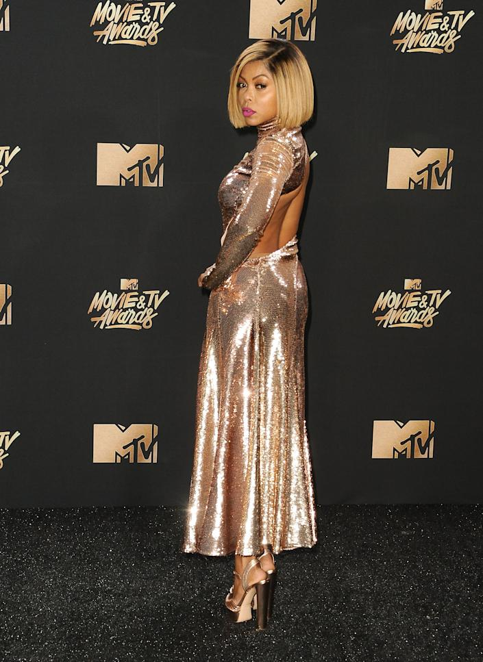 Actress Taraji P. Henson poses in the press room at the 2017 MTV Movie and TV Awards at The Shrine Auditorium on May 7, 2017 in Los Angeles, California.