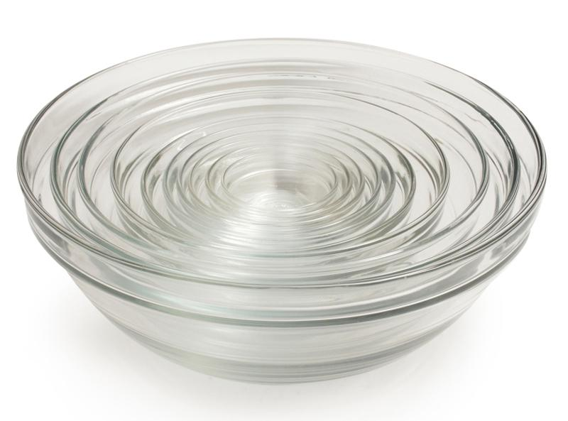 """A nested set of durable, chip- and odor-resistant glass bowls saves space and offers up a variety of sizes for all of your cooking and baking needs. <p>$40 
