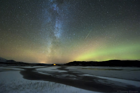 Photographer Tommy Eliassen captured this spectacular view of an Orionid meteor streaking through the dazzling northern lights and Milky Way from his camp in Korgfjellet, Hemnes, Norway, on Oct. 20, 2012, during the peak of the 2012 Orionid met